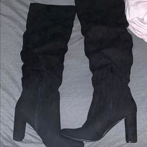 Shoes - Black slouch knee high boots